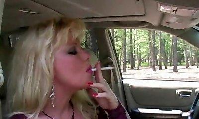 Hot Platinum-blonde MILF Smoking & Sucking In Fishnets & High-heeled Slippers