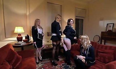 Best pornstars Georgie Lyall, Samantha Bentley and Lexi Lowe in killer lesbian, anal xxx clip