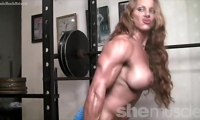 Nude Female Bodybuilder Redhead Cougar Braless in Gym