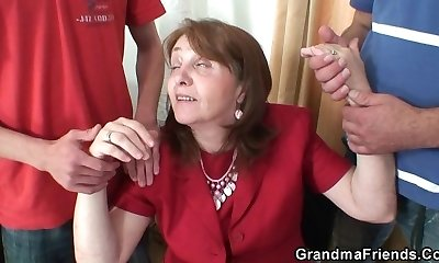Busty granny in tights rides and inhales at same time
