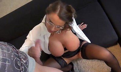 Fabulous Susi  German Mommy Big Bosoms Secretary Anal Stockings