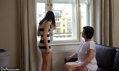 OldNanny Sexy girl masturbate hairy grandma pussy