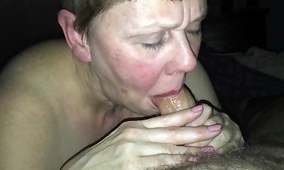 Useless beth H sucks her Master's cock and drinks
