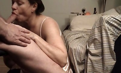 Feeding Time: Cougar Wife Pays Mastercard Bill Swallowing Cum