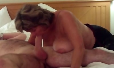 Busty Mature Swallows All of Good-sized Youthful Cock