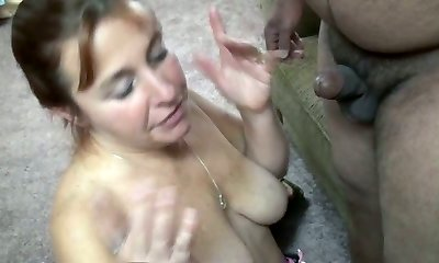 Buxom fair haired mom swallows 2 sweet lil cocks greedily