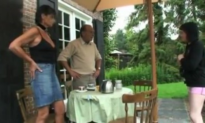 Old couple hosts younger couple