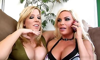 Naughty pornstars Gina Lynn and Lexi Lamour in best facial, blonde porn movie