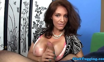 Busty mature titfucking and stroking