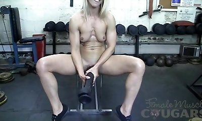 Muscular Mature Claire Boinks Huge Fake Penis In The Gym