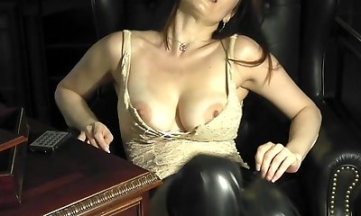 Amazing cougar leona in the study playing with herself
