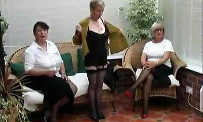 Vintage Stripping from trio Mature Village Women