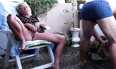 Mature duo balcony fuck