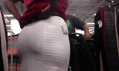 Ebony Milf with see thru-stretch pants Trying on Skirt
