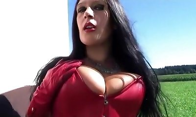 Leather Gothic Bride behind the chapel - Dirty Outdoor Suck Off Hand-job with Leather Mittens - Cum on my Tits