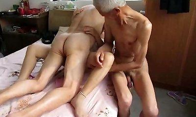 Asian Grandpa Trio with mature woman
