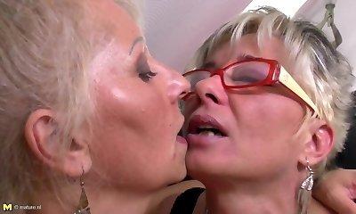 Brilliant mature mothers at lesbian threesome