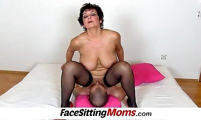 Good-sized boobs lady Greta old young facesitting and slit eating