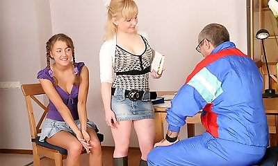 TrickyOldTeacher - Two steaming coeds get naked and give mature teacher 3some and throating