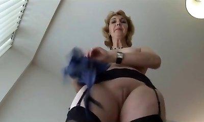 Mature English blonde babe in pantyhose upskirt taunt