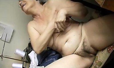 Horny Elder chubby Granny Masturbating with fuck stick