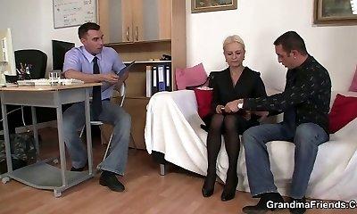 Granny takes two cocks at job conversation