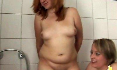 Mature, milf and nubile in Bathroom