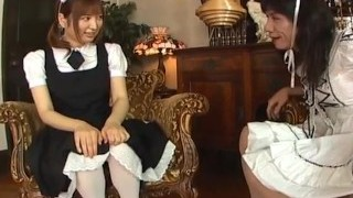Runna Sakai naughty Asian waitress gets legs stretched for snatch play