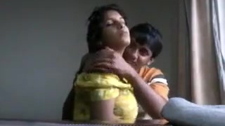 Desi boyfriend playing with saucy boobs of his gf