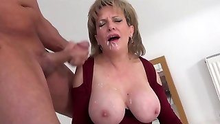 LS blasted with facial cumshot while riding a sybian saddle