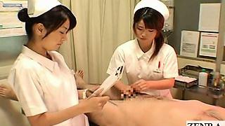Subtiitritega CFNM Jaapani õed haigla handjob cumshot