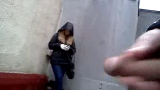 Cumshot in front of cute damsel on street