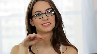 Alluring dark-haired in glasses Tali lets the interviewer enjoy her beaver