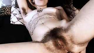 Youthful tatted valkyree Jainex with full bush and hairy armpits