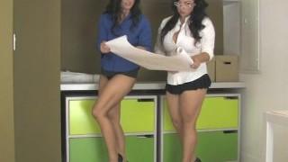 Red-hot brunette babes on high heels get part4