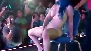 Japanese Stripper public stage Bottle Insertion & Huge Splatter