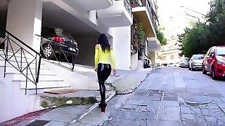 Spandex Pencil Skirt Walking in extreme stilettos