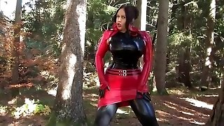Chesty Halloween Bombshell - Outdoor Blowjob Handjob with Latex Gloves - Cum on my Gloves