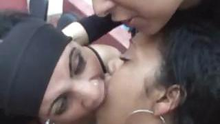 Awesome Brazilian girls spit on each other and smooch passionately