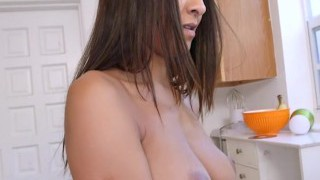 First-timer Brazillian maid Abby Lee Brazil cleans naked and gets fucked