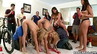 Rachel Roxxx, Alexis Fawx and Jamie Valentine arch over for boys to get eaten and ravaged