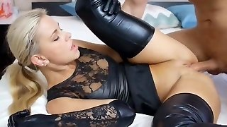 Gorgeous Blond Slut Pulverized In Black Latex Wet Look Lingerie