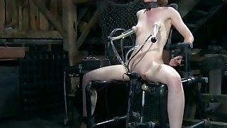 BDSM bondage victim penetrated by machine