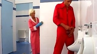 Mature bang-out in toilet