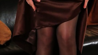 Ebony pantyhose and ultra hot stocking