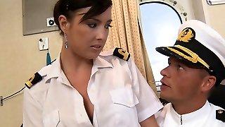 Mischievous Stacy seducing a captain in his bedroom