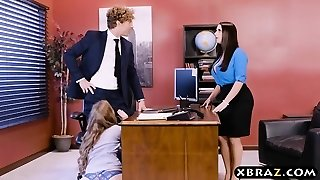 Office threesome with two bosses and a sexy worker