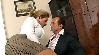 Bitchy secretary with humungous tits Brooklyn Lee hooks up with her boss