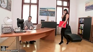 Hot dark-haired office biotch Vanessa Decker gets her juicy muff poked well