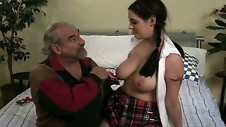 Beautiful college gal with juicy boobies gets spanked rock-hard
